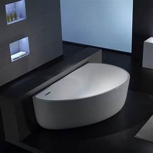 Baignoire Ilot Contre Mur : baignoire lot asym trique 170x100 cm acrylique blanc arc ~ Nature-et-papiers.com Idées de Décoration