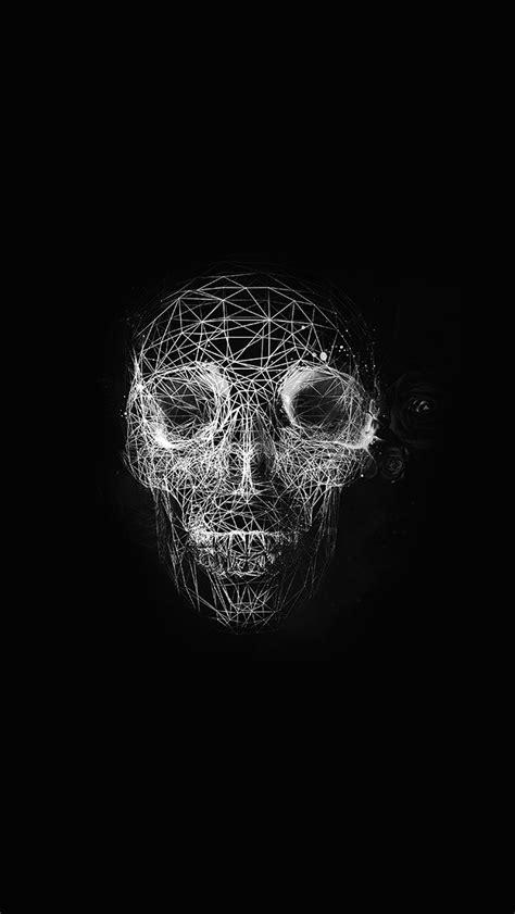 digital skull dark abstract art illustration bw wallpaper