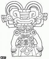 Coloring Zapotec Mask Sculpture Mayan sketch template