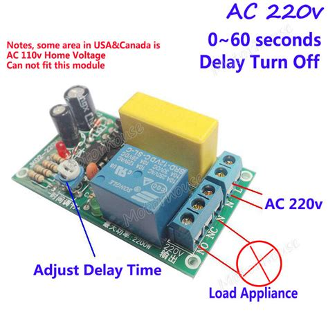 ac 220v 0 60s delay time relay switch delay turn timer module for stair l ebay