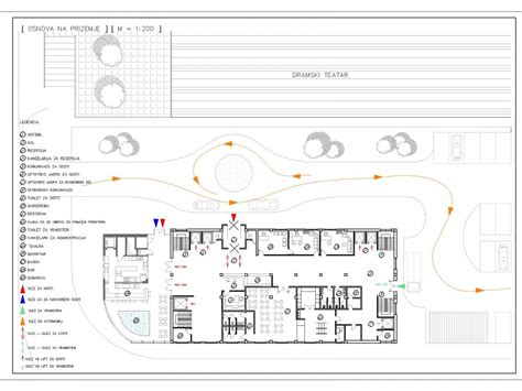 hotel plan including reception restaurant pool bar