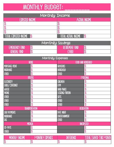 printable monthly budget worksheet journal craft
