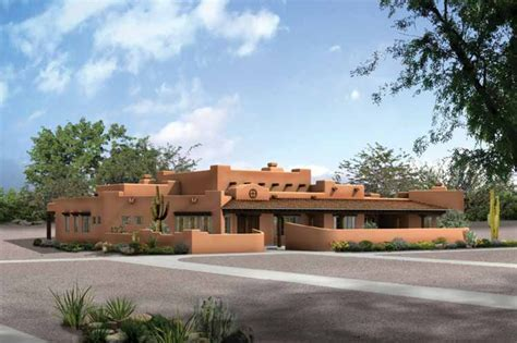 Adobe / Southwestern Style House Plan   4 Beds 3.50 Baths