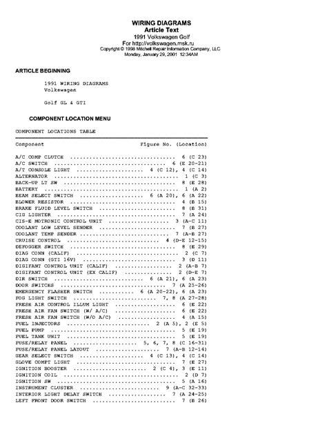 service manuals schematics 1991 volkswagen golf engine control vw golf gl gti 1991 wiring diagrams service manual download schematics eeprom repair info for