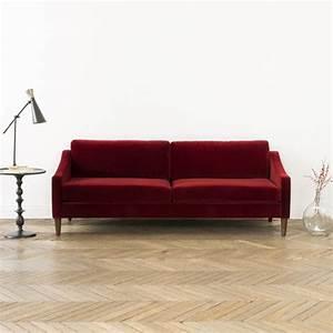 Canapé En L : canap en velours de coton l 207 tuileries rubis decoclico ~ Teatrodelosmanantiales.com Idées de Décoration