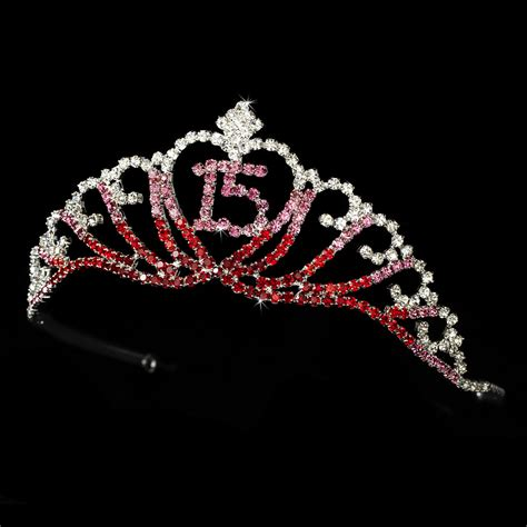sparkling sweet  quinceanera tiara covered  red pink