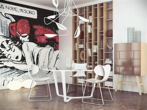 Pop-art-comic-book-inspired-wall-mural-in-the-dining-area.jpg League Of Legends Funny Art Neo Deco Interior Design Promo Bedroom Wall Trees Coloured Pencil Fantasy Cafe Flora New Style Ekko Fan