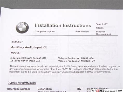 genuine bmw 82110149390 auxiliary input retrofit kit 82 11 0 149 390