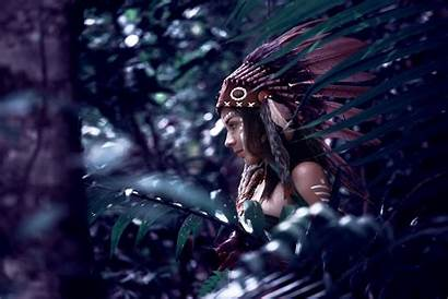 Native American 4k Woman Feather Wallpapers Background