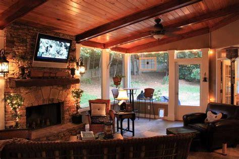ideasscreened  porch ideas  fireplace     adding fireplace