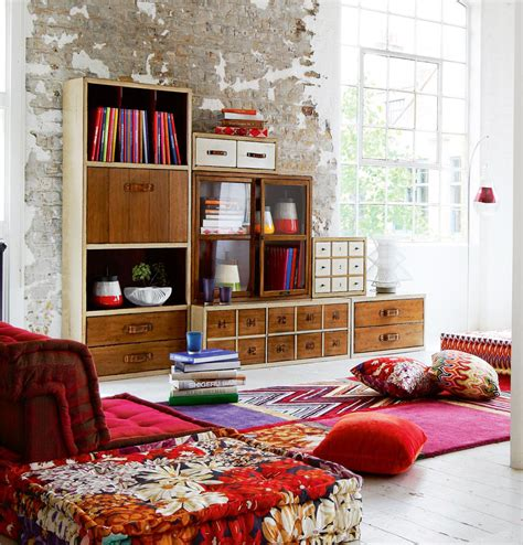casual chic living room decor rustic storage colorful