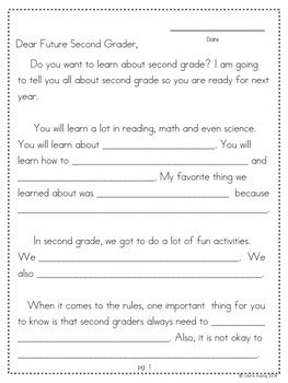 year letter writing templates  grade