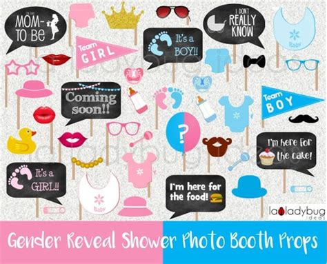 gender reveal baby shower photo booth props printable diy