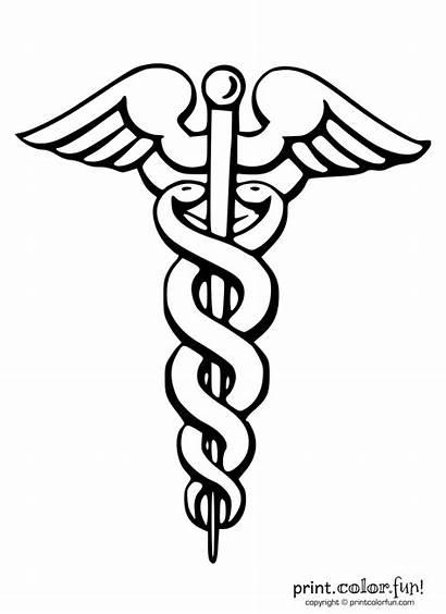 Symbol Medical Caduceus Coloring Tattoo Staff Nurse