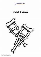 Crutches Helpful Coloring Sheet Printables Foot sketch template