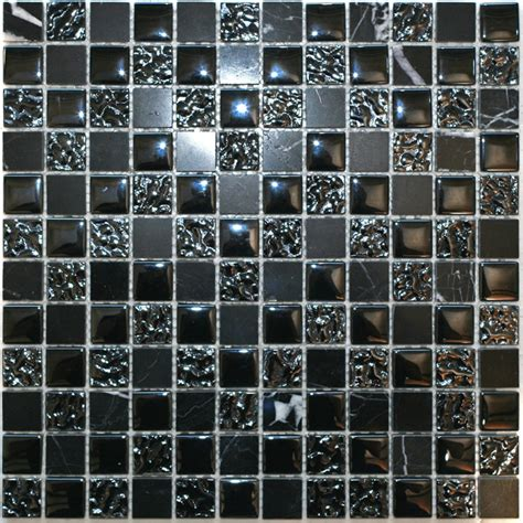 mosic tile decor8 tiles 300 x 300 x 8mm nero mix marble mosaic tile bunnings warehouse