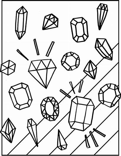 Coloring Diamond Pages Gemstones Clipart Rock Gemstone