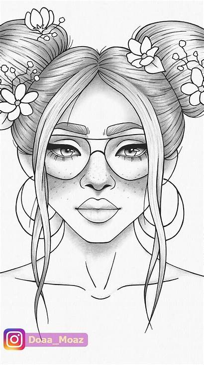 Coloring Colouring Drawing Printable Portrait Easy Coloriage