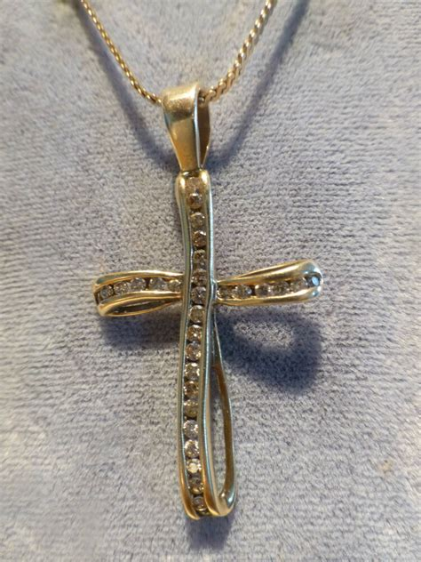 vintage   yellow gold diamond hand crafted cross