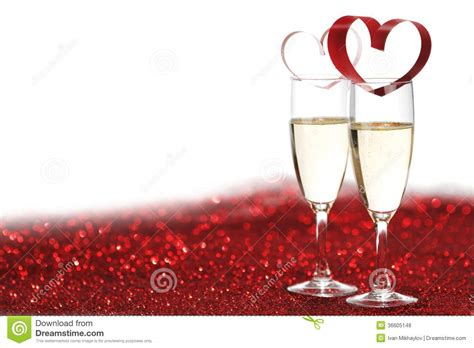 champagne  valentines day decoration stock photo