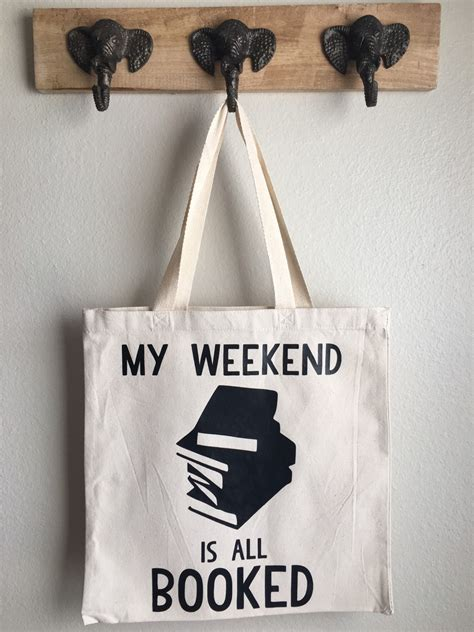 weekend   booked tote bag book tote bag funny tote etsy