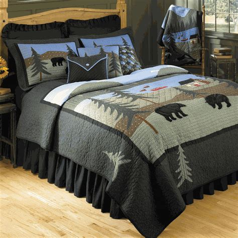 rustic bedding fullqueen size bear lake quiltblack