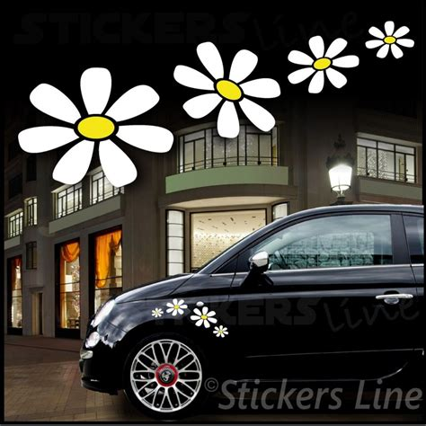 adesivi auto fiori kit adesivi margherite 4 pezzi adesivi fiori smart fiat