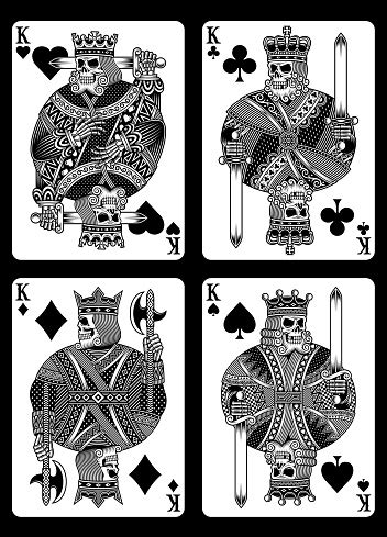 Set Of Skull Playing Cards Stock Illustration - Download