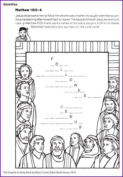 jesus disciple s names fill in the blanks korner