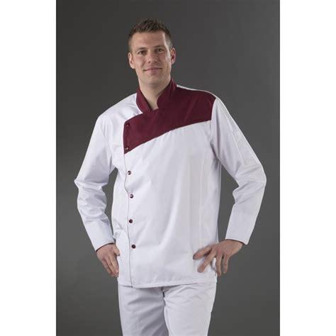 vetement de cuisine discount veste cuisine blanche plastron prune col officier prune