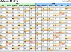 Split year calendars 201819 July to June for PDF UK