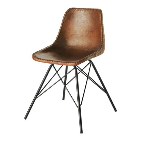 chaises maison du monde chaise indus en cuir et métal marron austerlitz maisons