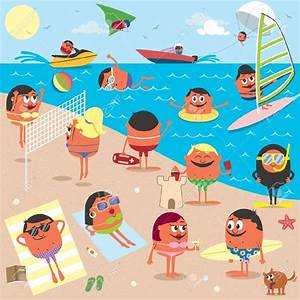 Beach scene Children swimming in the ocean illustration ...