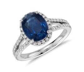 multi band wedding ring oval sapphire and halo split shank ring in 18k white gold 9x7mm blue nile