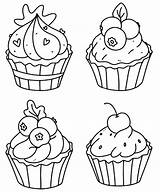 Coloring Cupcakes Cupcake Premium Vector Muffins Doodle Outline sketch template