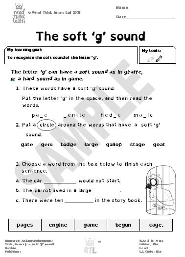 Generic  The Soft 'g' Sound  Read Think Learn
