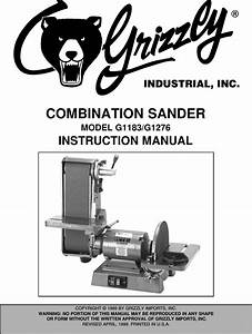 G1183  1276 Manual Grizzly G1183 Sander