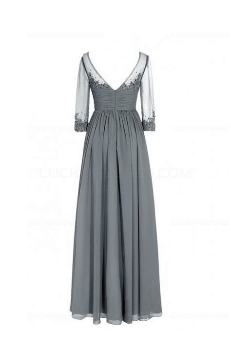long navy  length sleeves lace chiffon long mother