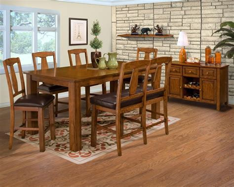 rectangle brown wooden table with brown wooden chairs
