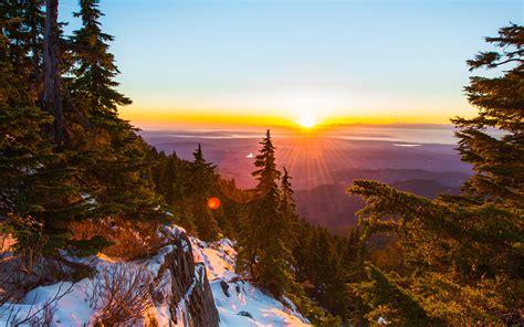 wallpaper  desktop laptop nm mountain snow winter sunset wood nature