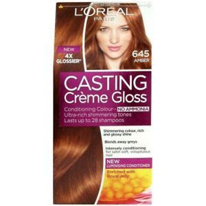 The squeezy applicator tube is designed to fit snugly in the hand for a controlled application, which is easy and clean, even for beginners. L'oreal Paris Casting Cream Gloss Permanent Hair Dye 645 ...
