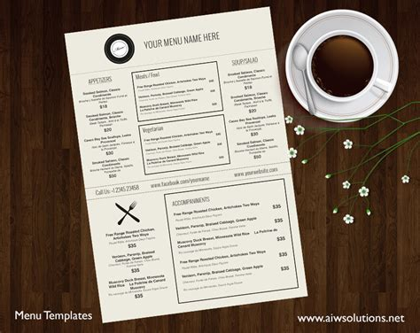 Resturant Menu Template by Design Templates Menu Templates Wedding Menu Food