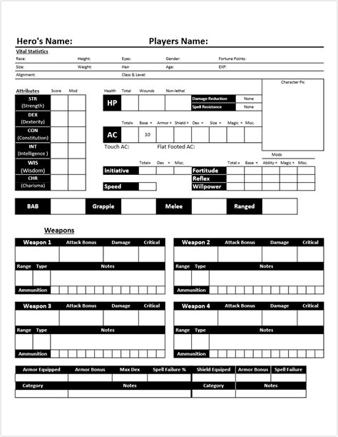 Dungeons And Dragons Templates by Character Template Dungeons Dragons 3 5