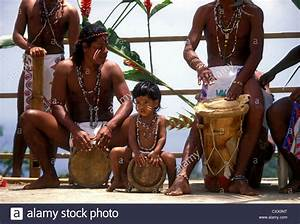 Carib Indians Adult Men And Young Boy Playing Drums ...
