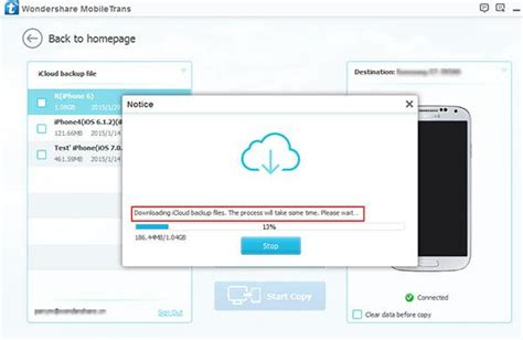 how to use icloud on android mobiletrans trasferire dati da backup icloud su android