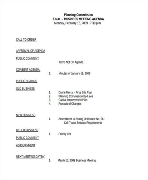 business meeting agenda examples samples