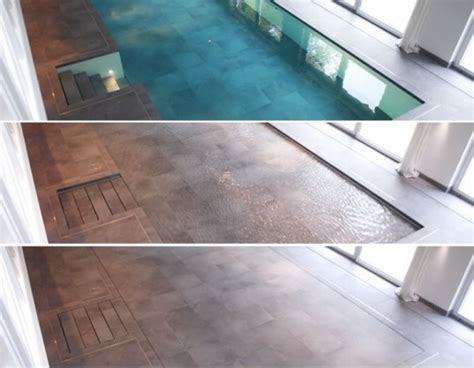 Hydrofloor Disappearing Pool Saves Energy and Space