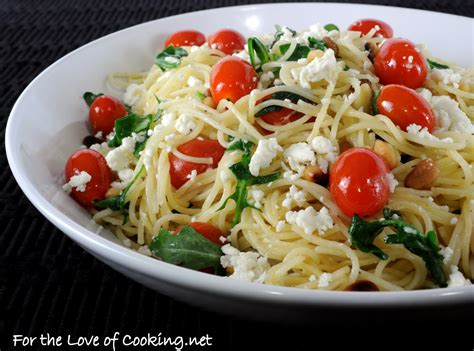 light pasta dishes hair pasta with arugula feta cheese tomatoes and