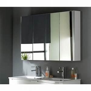 armoire miroir 120 cm blanc laque achat vente miroir With miroir 120 cm