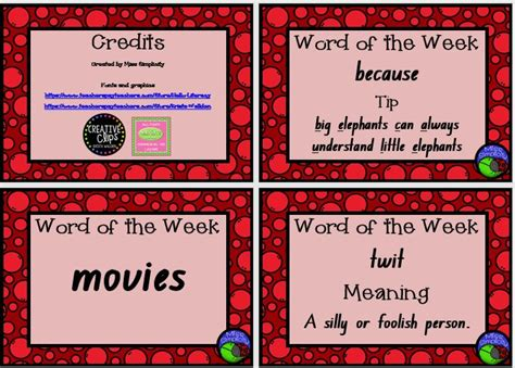 Of The Week Poster Template by 93 Best Free Literacy Resources Prim Images On